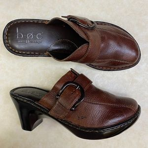B.o.c. Born Concepts Brown Leather Clogs
